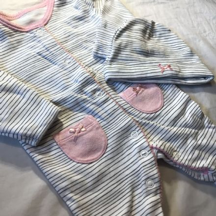 0-0 First Size Sleepsuit and Hat Set